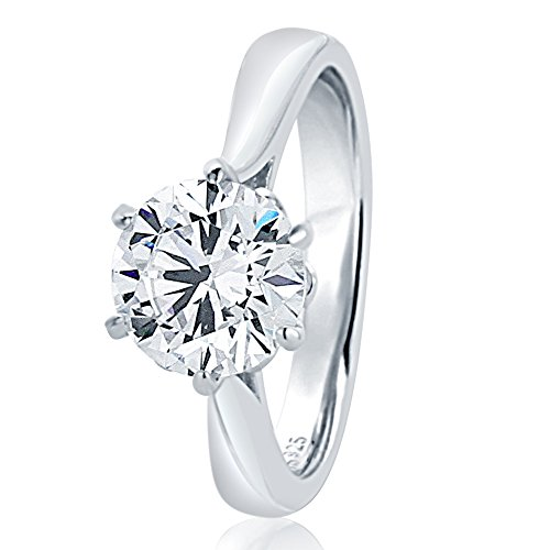 6 Prong Ring (Sterling Silver Round 2ct CZ 6 prong Classic Solitaire Wedding Engagement Ring 8MM (Size 5 to 10), 7)