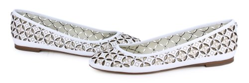 Michael Kors Gabriella Ballet Optic White Leather Slip On MK Flats Shoes