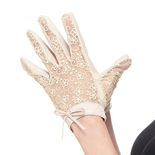 Nappaglo Women's Nappa Leather & Lace Unlined Gloves Bow Decoration Summer Short for Wedding Prom Banquet Party Driving (Medium, Beige) by Nappaglo