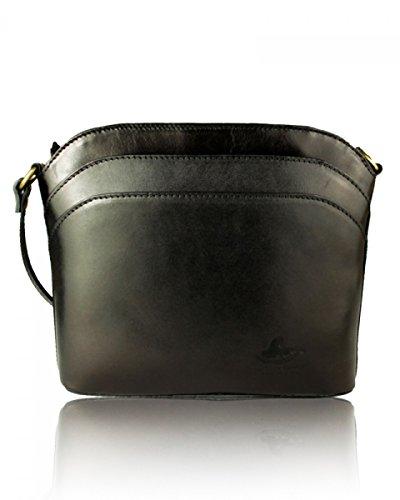 Craze London new Genuine Italian Leather, Small/Mini Cross Body Bag or Shoulder Bag, Handbag, Vera Pelle Style2 Black
