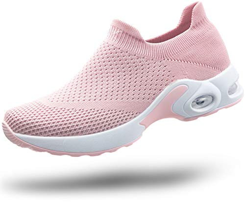JIYE Women's Walking Shoes Sock Sneakers - Easy Slip On for Lady Girls Air Cushion Platform Loafers,Pink,8 M US Women