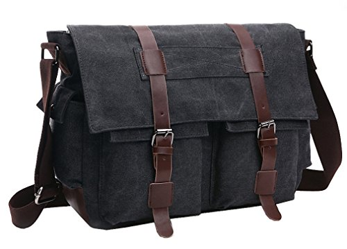 Kenox Canvas Crossbody Messenger Bag Laptop Case Backpack (Black)