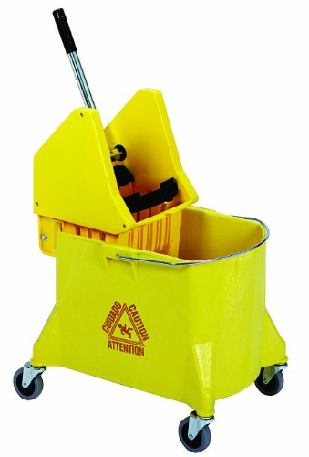 Continental 404-37YW, Yellow 44 Quart Structolene Mop Bucket with SW7 Down-Press Wringer (Case of 1)