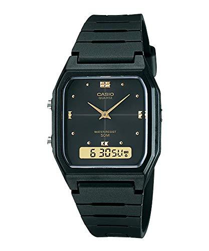 Casio #AW48HE-1AV Men's Black Resin Band Analog Digital Dual Time Zone Watch (Dual Alarm Watch)