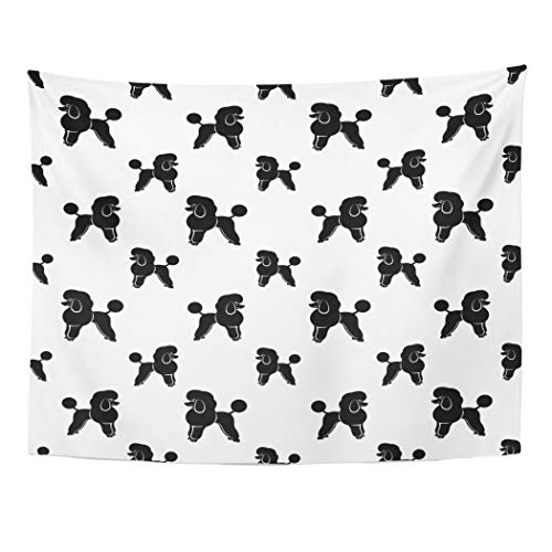 Tarolo Decor Wall Tapestry Black Poodle Dog Abstract Animals Cartoon Cute Flat 80 x 60 Inches Wall Hanging Picnic for Bedroom Living Room Dorm