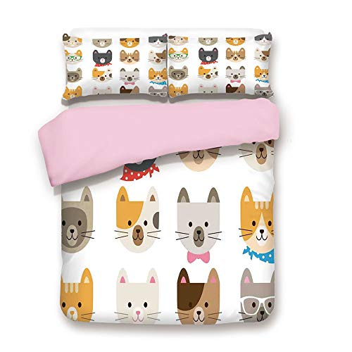 Pink Duvet Cover Set,Queen Size,Cats Costume with Glasses Bow Tie Bandanna Cartoon Art Craft Pattern Print Pets Animal Lovers Print Decorative,Decorative 3 Piece Bedding Set with 2 Pillow Sham,Best Gi ()