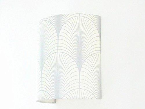 Applique murale art deco blanc et argent demi cylindre - demi-lune 25x25cm - idée cadeau - wall light anniversaire fête des mères
