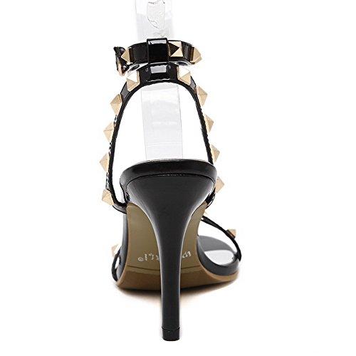 Allhqfashion Donna Morbido Materiale Fibbia Open Toe Tacco Alto Sandali Con Tacco Nero