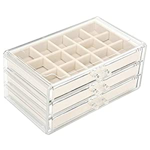 FEISCON Acrylic Jewelry Organizer Makeup Cosmetic Storage Organizer Box Clear Jewelry Case with 3 Drawers Adjustable…