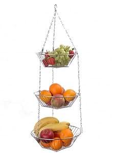 Frutero 3 cestas, para colgar, 23, 25, 27 cm diámetro