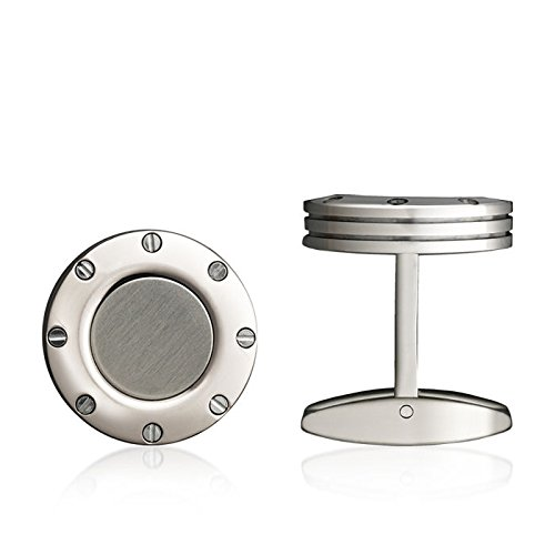 Colibri Stainless Steel Cufflinks (Men's Colibri Jewelry Daytona Polished Stainless Steel Satin Detail Cufflinks)