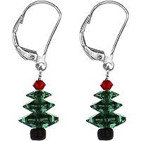 Aretes de árbol de navidad creados con cristales de swarovski