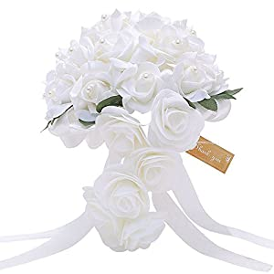 Artificial Wedding Bouquet Cascading Rose Flowers with Pearls for Bride and Bridesmaid, Waterfall Flowers Bunch for Decorations 2