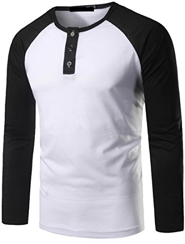 Yayu Mens Casual Long Sleeve Crewneck Contrast Color Henley T-Shirts White Small