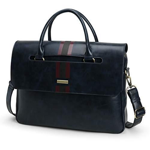 ECOSUSI Men's Briefcase 15.6 inch Laptop Bag PU Leather Computer Messenger Shoulder Bag with Front & Back Pockets, Blue