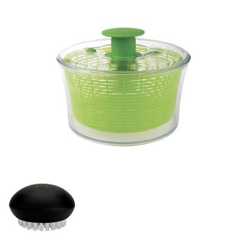 OXO salad spinner and vegetable brush bundle