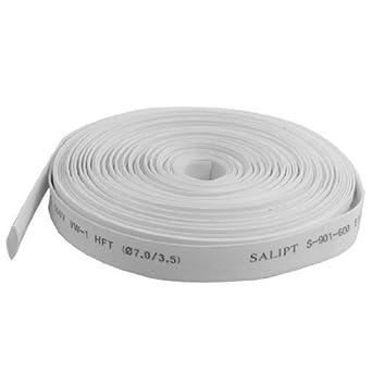 DealMux 7 milímetros Dia. Branco Polyolefin Termoencolhíveis 10M Tubo Shrink Tubing