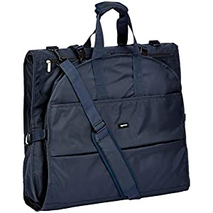 AmazonBasics Premium Tri-Fold Travel Hanging Garment Bag - 23.5 Inch, Blue