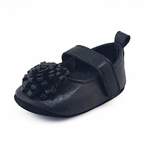 Coohole Newborn Infant Baby Girls Kids Hook & Loop Flower Crib Shoes Soft Sole Anti-slip Sneakers (13, Black) Black