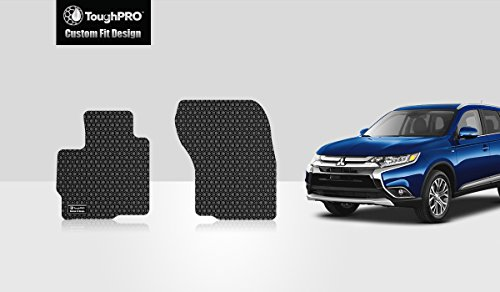 ToughPRO Floor Mats (Front Row Set) Compatible with Mitsubishi Outlander Sport - All Weather - Heavy Duty - (Made in USA) - Black Rubber - 2011, 2012, 2013, 2014, 2015, ()