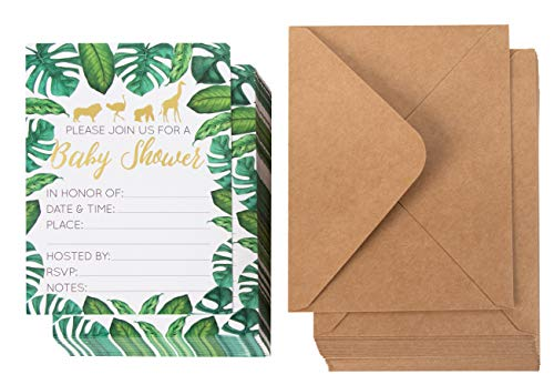 Baby Shower Invites - 36 Fill-in Baby Shower Invitations with Envelopes, Tropical Safari Animal Theme, Green Palm Leaves with Gold Foil Designs, Party Supplies for Gender Neutral and Co-Ed Baby Showers or Parties, 5 x 7 Inches