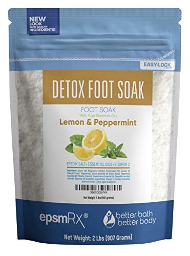 Detox Foot Soak 32oz (2-Lbs) Epsom Salt Foot Soak - Lemon, Peppermint, Frankincense, Lavender Essential Oils Plus Vitamin C Crystals - Natural Detox For Your Feet With New BPA Free - Relief Soak Foot
