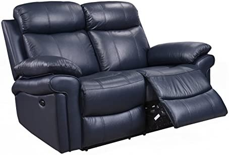 Oliver Pierce Hudson Reclining Leather Loveseat Blue
