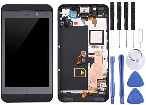 携帯電話の液晶画面 LCDスクリーンとBlackBerry Z10 4Gのためのフレームを持つデジタイザ完全組立(ブラック) (Color : Black)