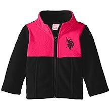 U.S. Polo Assn. baby-girls Baby Baby Girls' Mock-Neck Color-Block Polar Fleece Jacket