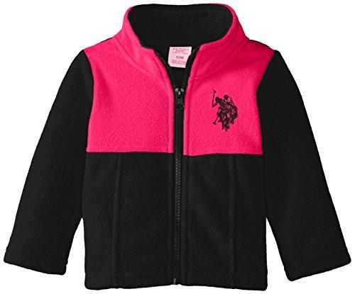 Polo Neck Zip Jacket - U.S. Polo Assn. Baby-Girls Mock Neck Color Block Polar Fleece Jacket, Black/Fuchsia, 24 Months