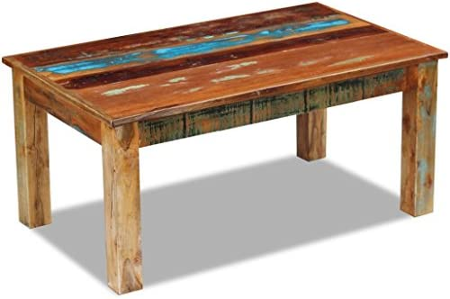 Daonanba Decorative Durable Coffee Table Antique Couch Table Living Room Table Side Table Solid Reclaimed Wood