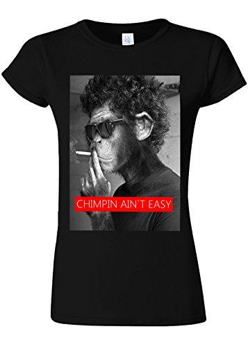 言うまでもなく大統領発火するSmoking Monkey Chimpin Ain`t Easy Novelty Black Women T Shirt Top-L