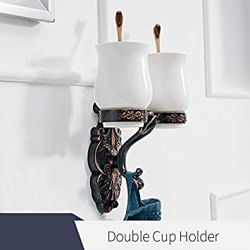 Bathroom Brass Toothbrush Holder Ceramic Double Cup Tumbler Wall Mounted