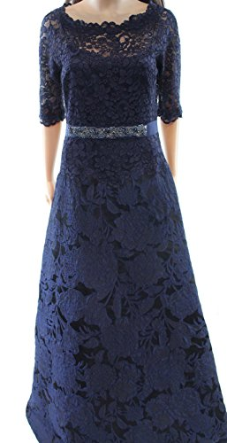 Teri Jon Women's Floral Lace Embellished Sheath Dress Blue 6