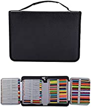 150 Slots PU Leather Fabric Pencil Case, Large Capacity Zippered Pen Bag Pouch with Handle Strap, Multi-Layer