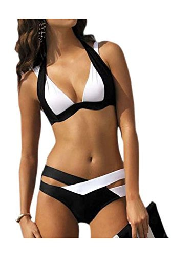FACE N FACE Womens Summer Cross Padded Push Up Halter Bikini Swimsuit US S/Tag M - Asian Face Flat