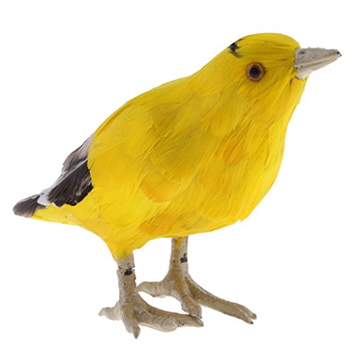 D DOLITY Imitation Animal Artificial Feather Oriole Bird Statue Yard Tree Lawn Ornament Sculpture Decoration Garden Craft