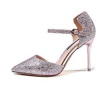 MDRW-Lady/Elegant/Arbeit/Freizeit/Feder Funkelt Scharfe Flache Mulde 9 Cm High Heel Schuhe Einzelne Schuhe Mode...