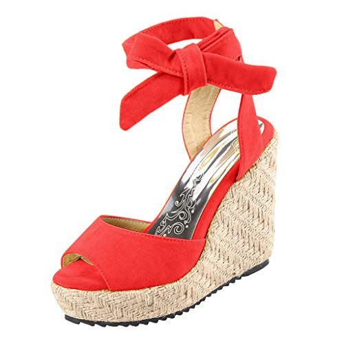 - Respctful✿Wedge Sandals for Women's Fashion Flatform Espadrilles Ankle Strap Buckle Open Toe Faux High Heels Red