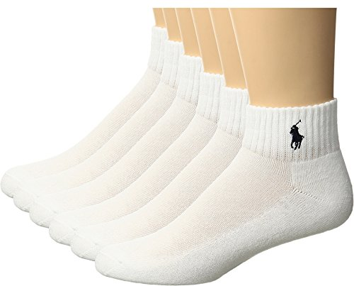 Polo Kids Socks for Boys Quarter High with Polo Player (2-12 Years) White/Blue Pony, 4-10 Shoe/ 9-11 Sock (Kids/Boys/Girls)