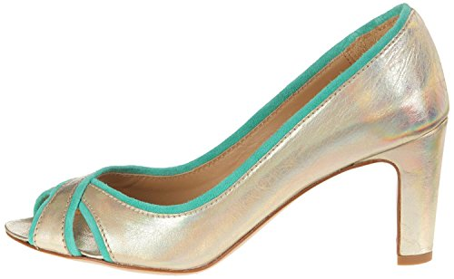 Atelier Voisin Peep Toe Pumps Leder gold green chic gold suede green