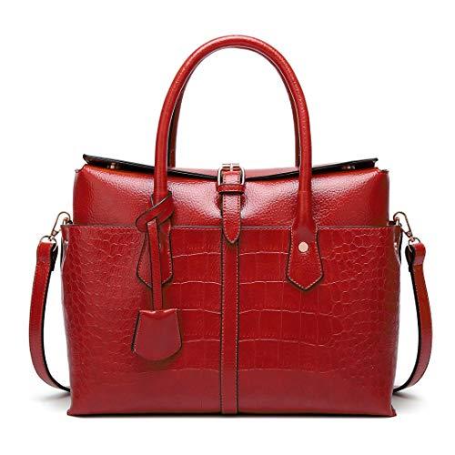 Main Femme Office Water Red Pocket à Worker capacité PU Black 2way Mans bandoulière Zipper à Réglable Sac en Unisexe Adulte Color Cover Commuter Grande Cijfay Sac et pour Cuir Repellent SIEAx1q