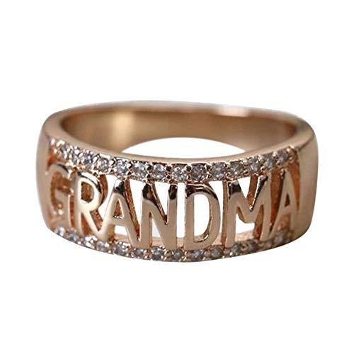 DesirePath Women Charming 18K Diamond Grandmother Ring Wide Bands Jewelry Rose Gold