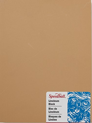 Speedball 4311 Premium Mounted Linoleum Block  Fine, Flat Surface for Easy Carving, Smoky Tan, 6 x 8 Inches