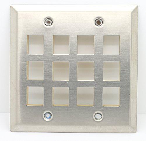 (RiteAV - Keystone Wall Plate Double Gang 12-Port (1 Piece Flush) - Stainless Steel)