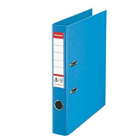 Leitz 811411 - Archivador de plástico con anillas, lomo estrecho, A4, color azul: Amazon.es: Oficina y papelería