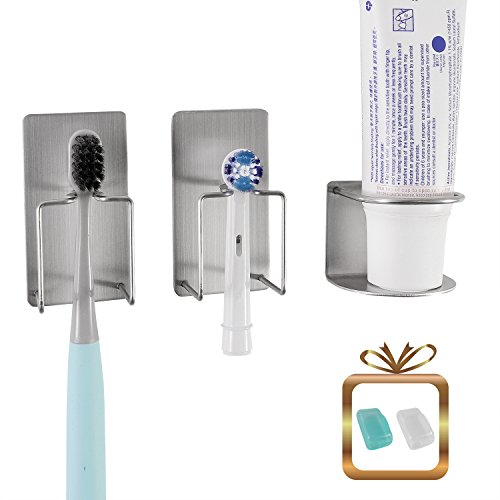 wanyu Bathroom Wall Mounted Holder for Your Toothpaste, Toothbrush and Electric Tooth - Removing Bathroom Mirrors Adhesive