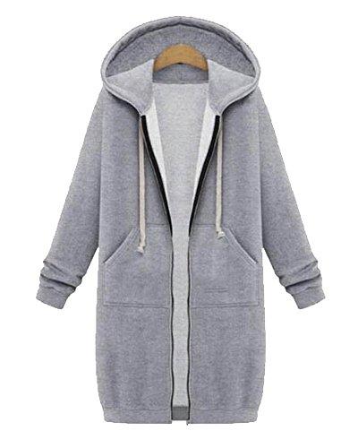 Gris Primavera Suelto Coat Casual Otoño Mujer Capucha Con Cardigan Abrigo Trench Y PUTxw1