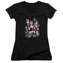 Batman Bad Gals BW Juniors V-Neck T-Shirt
