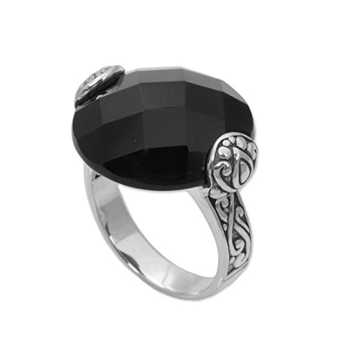 NOVICA Onyx .925 Sterling Silver Ring 'Mysterious ()
